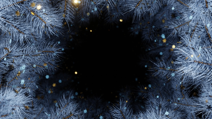 New year and Christmas 2021 BAckground. Frozen of  Christmas tree branches with gold and white snowflakes. 4K 3D loop animation. More in my collections.