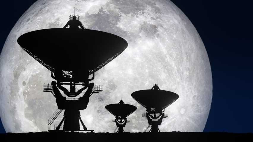 Three Radio Telescopes with Giant Moon in Background Time lapse - 3D Illustration Animation.  Moon Image Courtesy of NASA. Royalty-Free Stock Footage #1060256087
