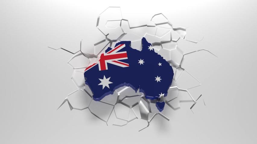 Australia falls and breaks the ground. Cracks under Australia. Australia in danger.