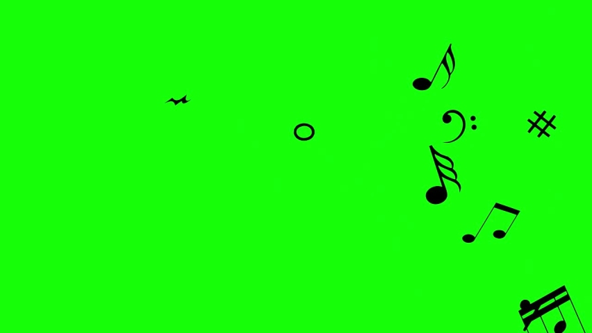 Musical notes melody music chroma key green screen concert audio video animation piano keys song