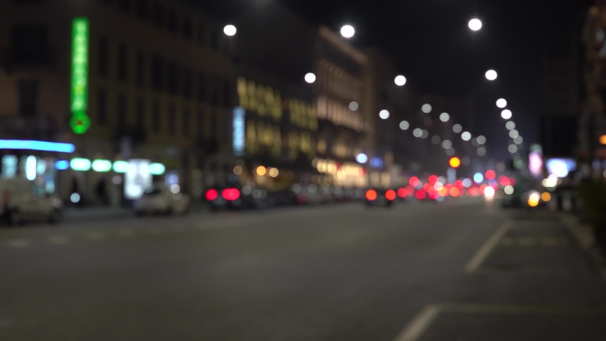 Defocused Milano traffic lights and cars at night. Blurred image of Milan, street - Corso Buenos Aires. | Shutterstock HD Video #1060277300