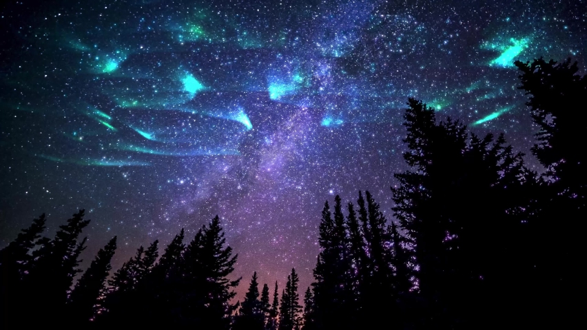 Aurora borealis Northern Lights Simulated Night sky milky way galaxy starry sky time-lapse from the shining stars Aurora borealis Northern and jungle at night under starry stars. Royalty-Free Stock Footage #1060283768