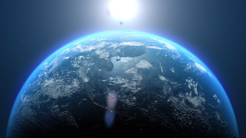 Beautiful 3d earth planet animation. Space Zoom spinning view, Concept of climate change, dark night, cities lights, sunrise. World planet satellite,Stars, nebula and galaxy black background in 4k. Royalty-Free Stock Footage #1060284320