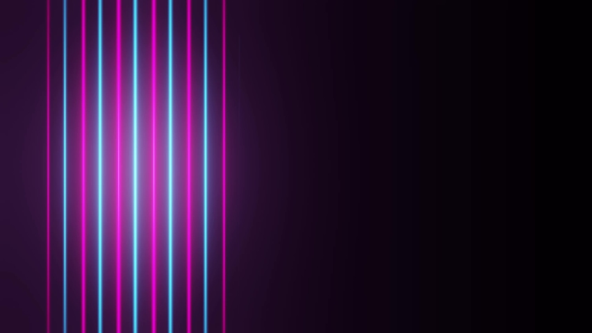 Neon background. Blue and pink glowing neon light lines appears and disappears. Motion background for stage animation or vj loop. Looping modern neon lines #1060288931