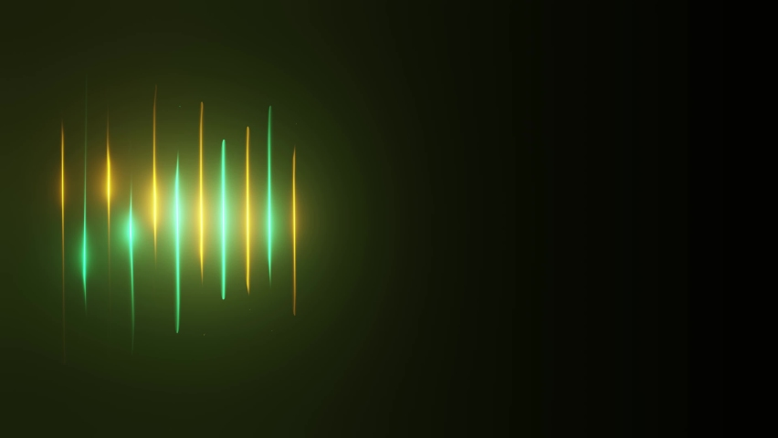 Neon background. Green and yellow glowing neon sound wave light lines appears and disappears. Motion background for stage animation or vj loop. Looping modern neon lines #1060288934
