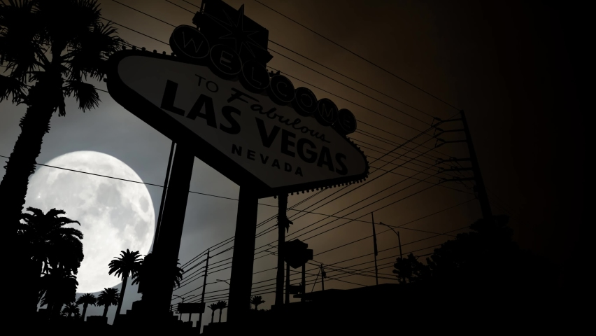 Las Vegas Billboard by Night, Time Lapse with Full Moon, Nevada, USA | Shutterstock HD Video #1060301333