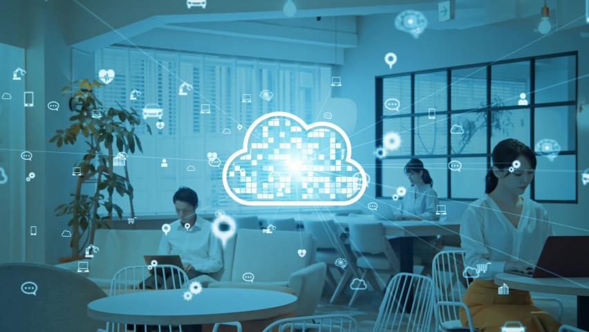 Cloud computing concept. Software as a Service. SaaS. Communication network. Royalty-Free Stock Footage #1060308191