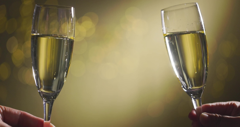 Toasting Champagne Flutes for new year Royalty-Free Stock Footage #1060309811