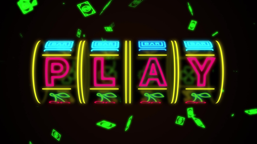 Neon casino slot machine spinning, money flying after win combination. Play title