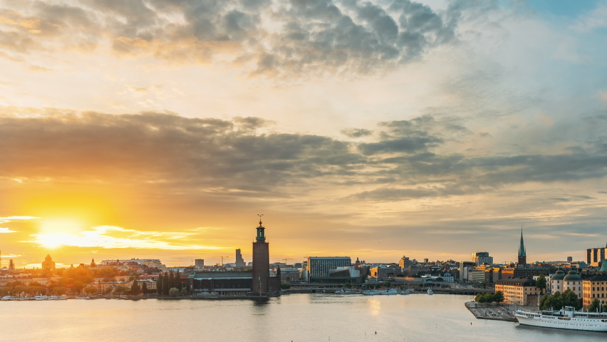 Stockholm, Sweden. Skyline Cityscape Famous View Of Old Town Gamla Stan In Summer Evening. Famous Popular Destination Scenic UNESCO World Heritage Site. Popular City Hall, Riddarholm Church In Sunset | Shutterstock HD Video #1060325306