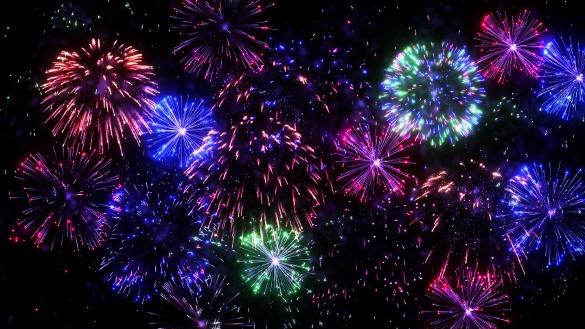 4K. loop seamless of real fireworks background. abstract blur of real golden shining fireworks with bokeh lights in the night sky. glowing fireworks show. New year's eve fireworks celebration. Royalty-Free Stock Footage #1060326212
