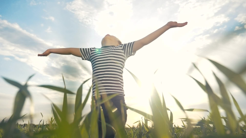 boy pray. pulls hands against a blue sky. child concept faith religion and happy family. kid son pray hands to side against the blue sky jew kid praying to god. worship and gratitude religion Royalty-Free Stock Footage #1060351907