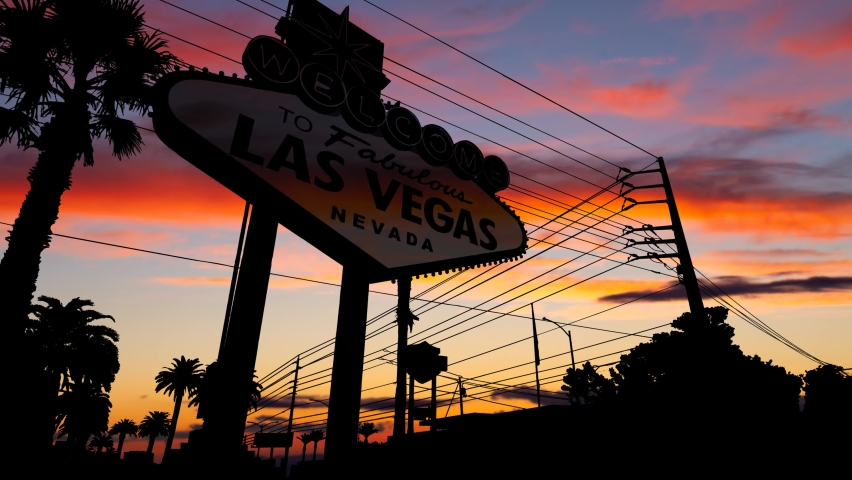 The Welcome to Las Vegas Sign at Dusk, Time Lapse with Colourful Sky, Nevada, USA | Shutterstock HD Video #1060354805