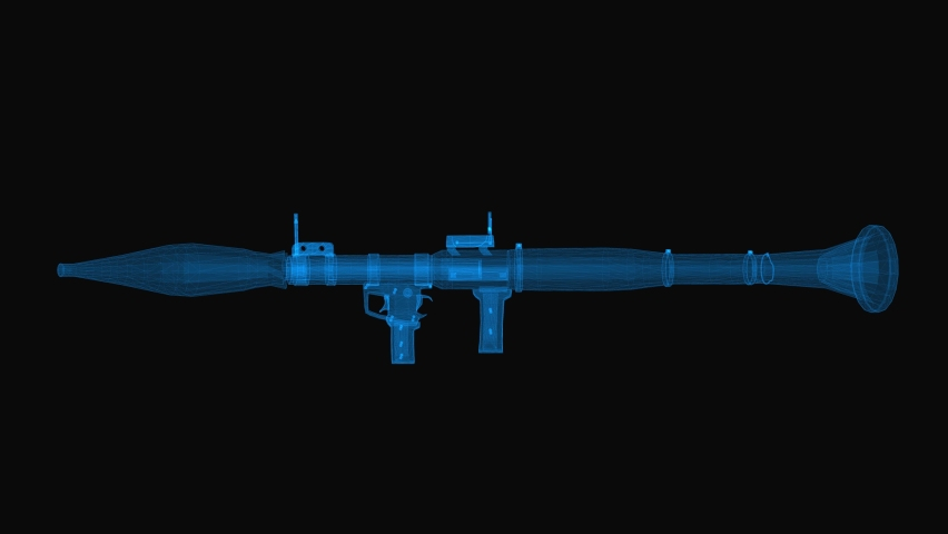 Grenade launcher wireframe scheme. 3d render with blue grid lines. Loop rotation on black background.