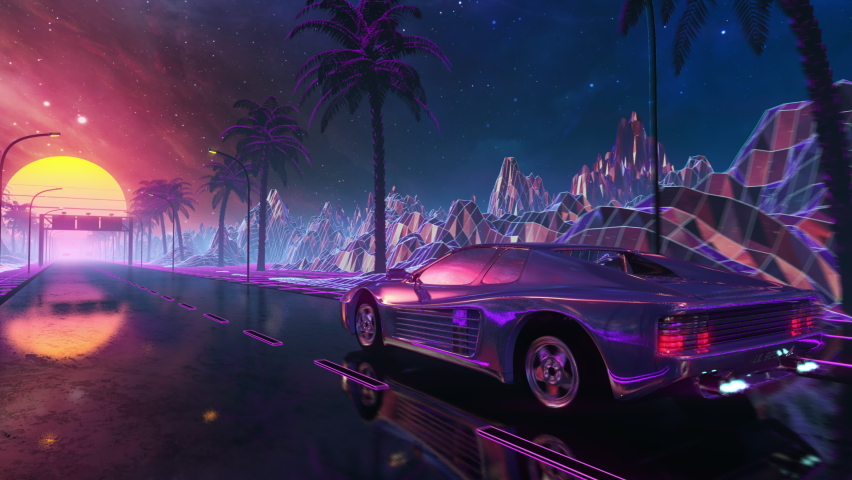 80s retro futuristic drive seamless loop with vintage car. Stylized sci-fi landscape race in outrun VJ style, night sky. Vaporwave 30 fps 3D animation background for EDM music video, DJ set, club. 4k Royalty-Free Stock Footage #1060359773