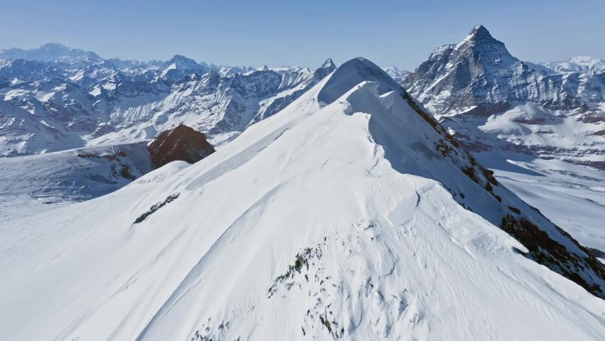 Alps Cold Mountain Top Snow Ice Tourism Sport Eco Travel Mountains Peaks Cliffs Rocks Ridges Landscape Drone Aerial Flight Over Swiss Mountain Range Golden Hour Inspiring Nature 4k Slow Motion