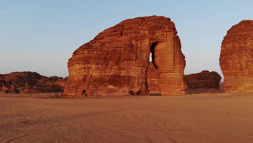 Morning sunrise aerial views of Elephant Rock (Jabal AlFil) in Al Ula, Western Saudi Arabia