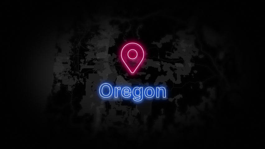 Oregon State of the United States of America. Animated neon location marker on the map. Easy to use with screen transparency mode on your video. 4k 30 fps. | Shutterstock HD Video #1060398668