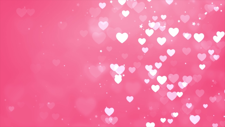 Abstract saint valentines day Pink background. Computer generated seamless loop video frame with flying hearts. Christmas Winter Background. Floating White Dust Particles 4k Seamless loop frame. | Shutterstock HD Video #1060403411