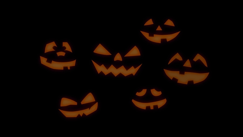 Halloween glowing pumpkins with black background. Orange glow light inside of carved pumpkin heads. Dark smile faces. | Shutterstock HD Video #1060405052