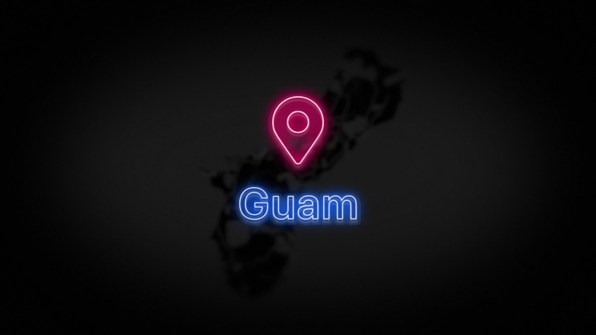 Guam State of the United States of America. Animated neon location marker on the map. Easy to use with screen transparency mode on your video. 4k 30 fps. | Shutterstock HD Video #1060419664