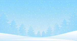 Winter landscape with falling snow. Cartoon background for Christmas and New Year. Seamlessly looping 4K video render. New Year banner with blue sky, snowy trees, snow, snowy forest