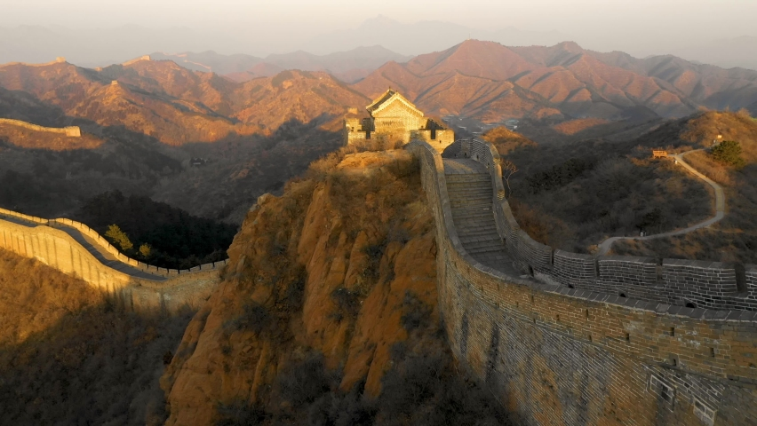 Flying over the Great Wall of China at Dawn