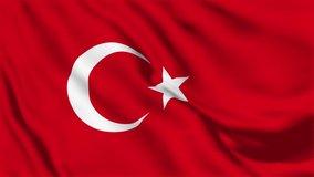 A beautiful view of Turkey flag video. 3d flag waving video. Turkey flag HD resolution. Turkey flag Closeup Full HD video.