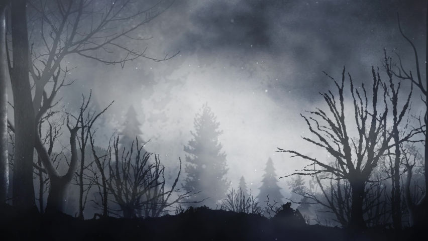 Black Forest Silhouette Full Moon and Bats 4K Loop features a camera view panning the silhouette of an old dark forest with a full moon behind and fog, smoke, and bats flying in a loop