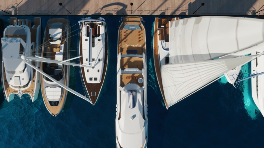 Aerial view of the yacht club. Aerial top-down view of docked sailboats. Top down view of yachts Royalty-Free Stock Footage #1060460089