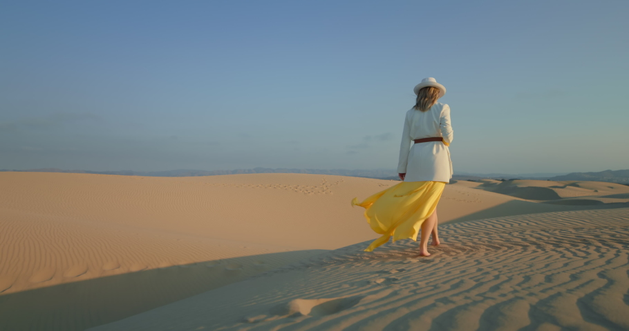 Nature background with copy space on blue. Footage for text box and commercial. Back view of stylish woman walking in fashionable clothes by rippled sand dune at sunset. Slow motion 4K footage | Shutterstock HD Video #1060462468