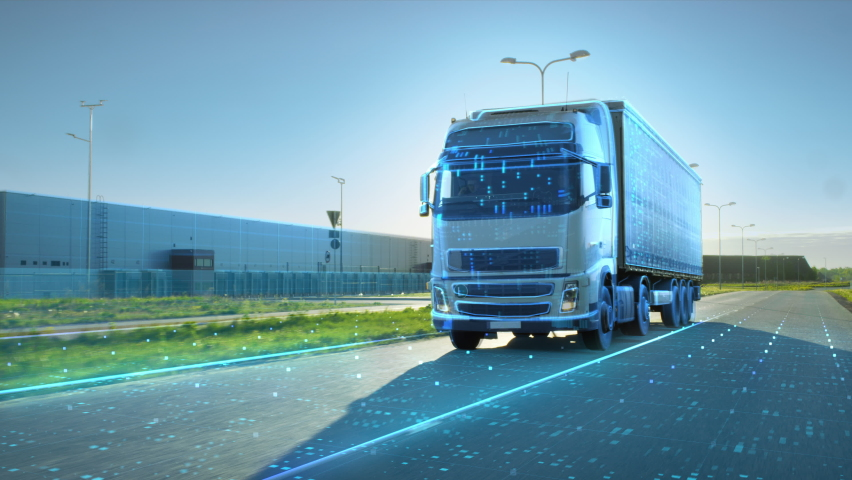 VFX Concept: Big White Semi-Truck with Cargo Trailer Drives on the Road is Transformed with Graphics and Special Effects Into Digitalized Version Digital Twin Futuristic Concept of Autonomous Vehicle