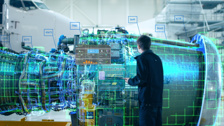 High-Tech Advanced Technology Concept: Visualization Of Futuristic Airplane Engine Maintenance Conducted by Engineer Holding Digital Tablet Computer. Animation of Analytics Checking of Plane Turbine | Shutterstock HD Video #1060479043