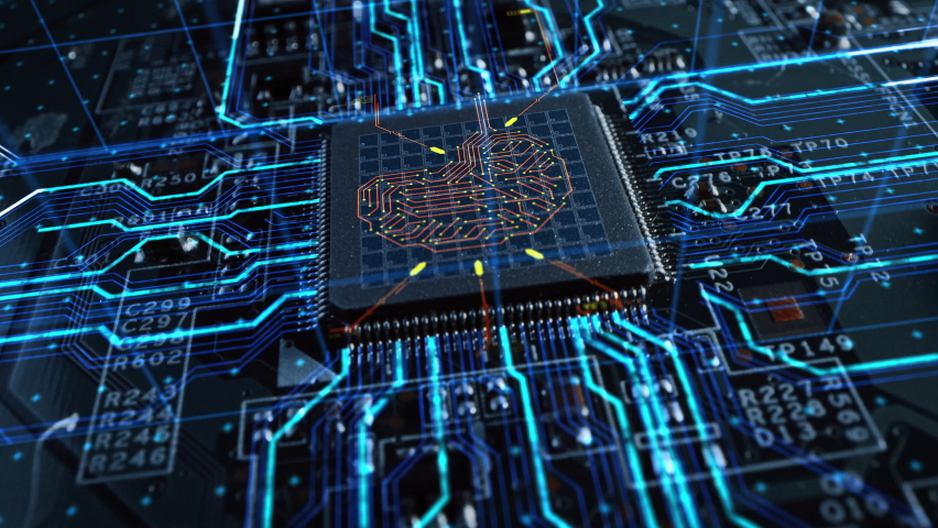VFX Concept Visualization: Circuit Board CPU Processor Microchip Starting Artificial Intelligence Digitalization of Neural Networking and Cloud Computing Data. Digital Lines Connect into 3D Brain Royalty-Free Stock Footage #1060479097