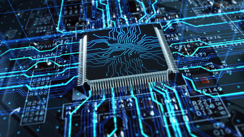 Advanced Technology Concept Visualization: Circuit Board CPU Processor Microchip Starting Artificial Intelligence Digitalization of Neural Networking and Cloud Computing Data. Digital Lines Move Data Royalty-Free Stock Footage #1060479100