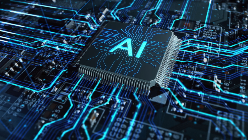 Futuristic High-Tech Concept Visualization: Motherboard CPU Processor Microchip Starting Artificial Intelligence Digitalization of Data information Processing. Digital Lines Connect into AI Symbol Royalty-Free Stock Footage #1060479103