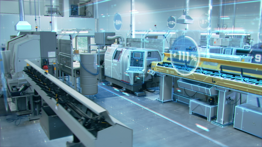 Futuristic Animation: Factory Digitalization with Information Showing Efficiency Percentage of High-Tech Modern Electronics Facility. CNC Machinery Manufacturing Products Using IoT Industry 4.0 Royalty-Free Stock Footage #1060479115