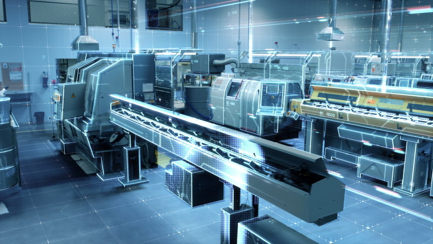 Futuristic Animation: Factory Digitalization with Information Lines Moving Through the High-Tech Modern Electronics Facility. CNC Automatic Machinery Manufacturing Products Using IoT Industry 4.0  Royalty-Free Stock Footage #1060479124
