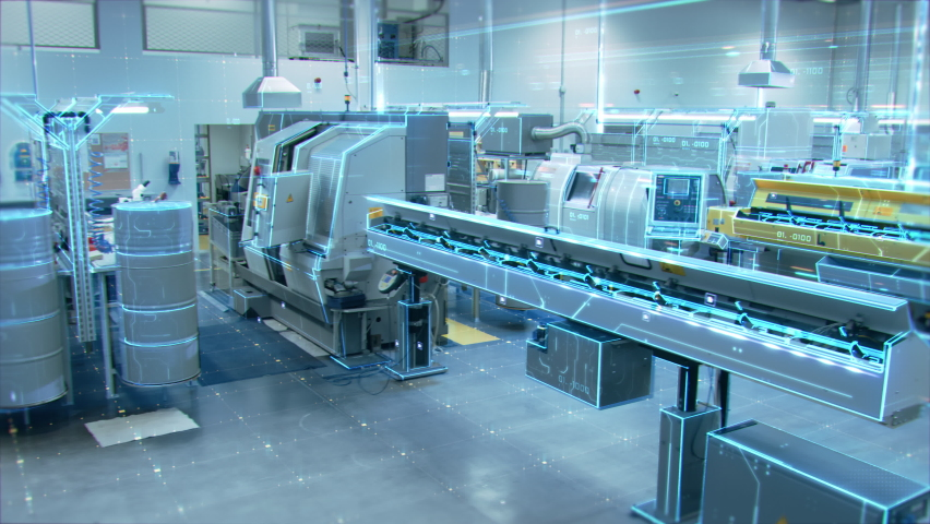 Futuristic Animation: Factory Digitalization with Information Lines Moving Through the High-Tech Modern Electronics Facility. CNC Automatic Machinery Manufacturing Products Using IoT Industry 4.0 Royalty-Free Stock Footage #1060479130