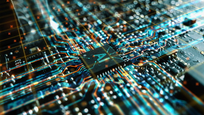 Advanced Technology Concept Visualization of Motherboard CPU Processor Microchip Starting Artificial Intelligence Digitalization Process of Data Computing and Processing.Digital Lines of Information Royalty-Free Stock Footage #1060479148