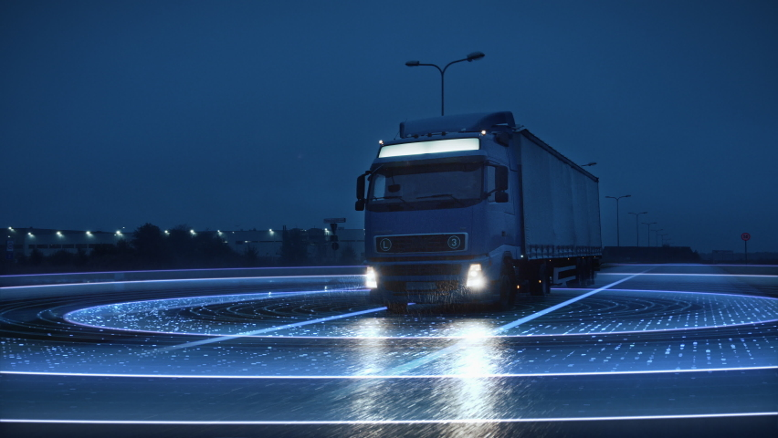 Futuristic Technology Concept: Autonomous Semi Truck with Cargo Trailer Drives at Night on the Road with Sensors Scanning Surrounding. Special Effects of Self Driving Truck Digitalizing Freeway Royalty-Free Stock Footage #1060479169