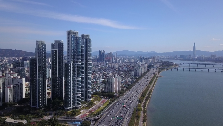 Aerial view of Seoul city at han river in Seoul,South Korea. | Shutterstock HD Video #1060479613