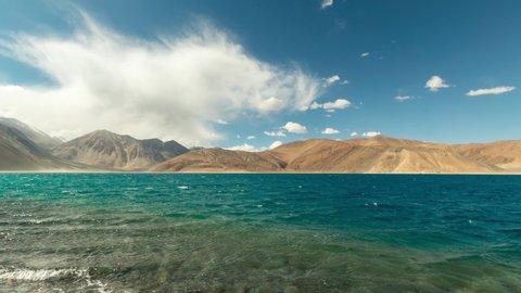 Pangong Lake 4k Time lapse of Clouds, Blue Sky, Ladakh, India