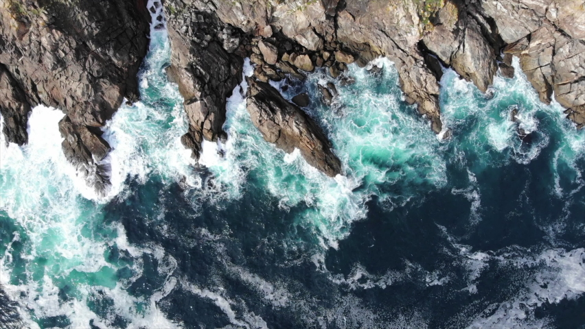 Scenic View Of Extreme Waves Splashing On The Rugged Cliff In Costa Da Morte, Galicia, Spain - aerial drone Royalty-Free Stock Footage #1060486939