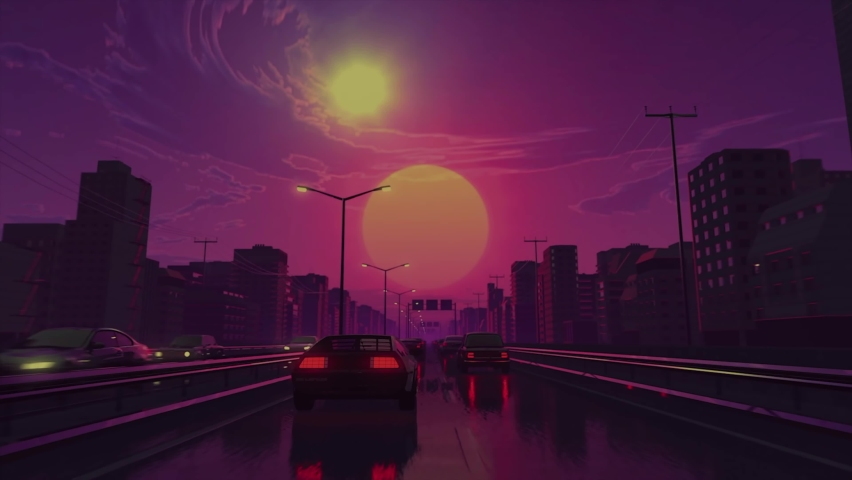 Retro futuristic car drive in neon city looping 3D animation video footage | Shutterstock HD Video #1060492273