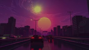 Retro futuristic car drive in neon city looping 3D animation video footage