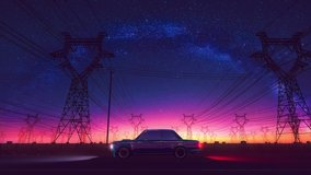 Cyberpunk retro car drive in neon city looping 3D animation video footage