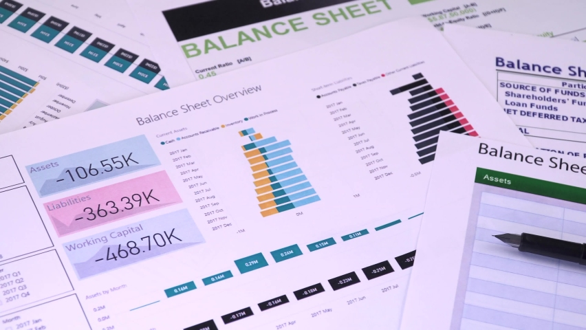 Conceptual composition. Balance sheet summary form and pen on the background of financial documents, close-up