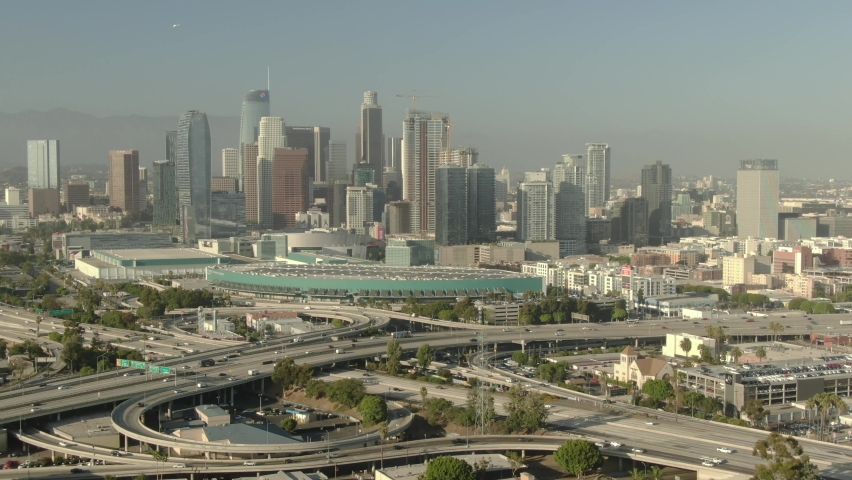 Los Angeles Downtown Freeway Interchange from University Park Sunset Aerial Shot R | Shutterstock HD Video #1060514500