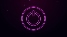 Glowing neon line Power button icon isolated on purple background. Start sign. 4K Video motion graphic animation.